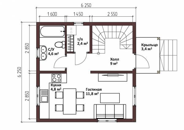 Планировка 1-ый этаж дачный дом  6,25х6,25 проект