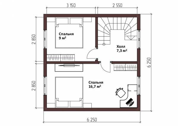 Планировка 2-ой этаж дачного дома  6,25х6,25