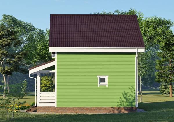 Вид сбоку на дачный дом в проекте Зеленоградский размеры  6,25х6,25