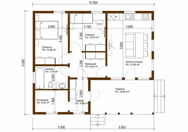 Планировка одноэтажного дачного дома 6х10,5 проект Лотошино