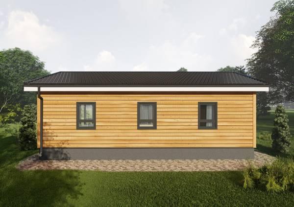 Фасад дачного одноэтажного дома 6х10,5 проект Лотошино