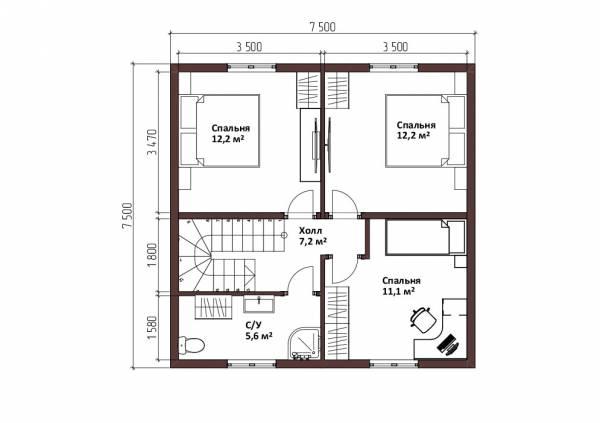 планировка второго мансардного этажа дачного дома  7,5х7,5 м.