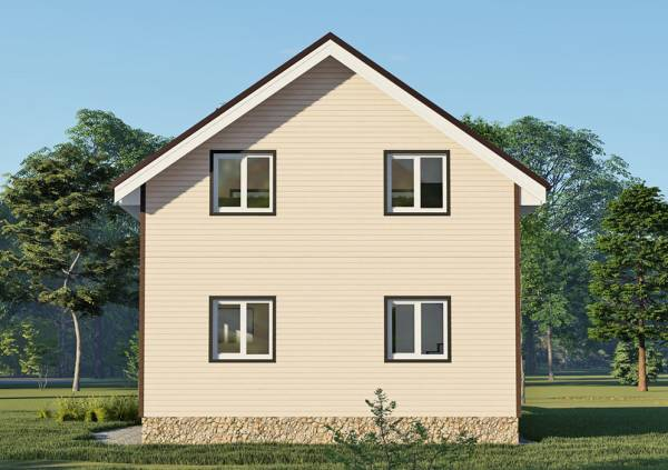 Фасад с 4 окнами дачного дома  7,5х7,5 м.