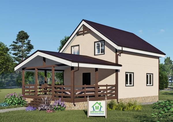 Вид на дачный дом проект Малаховка размеры 7,5х7,5 м.