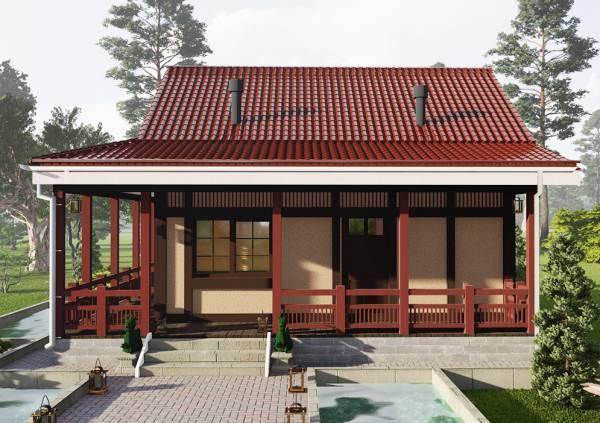 Входная группа в проекте в японском стиле дачный дом 6х7 м