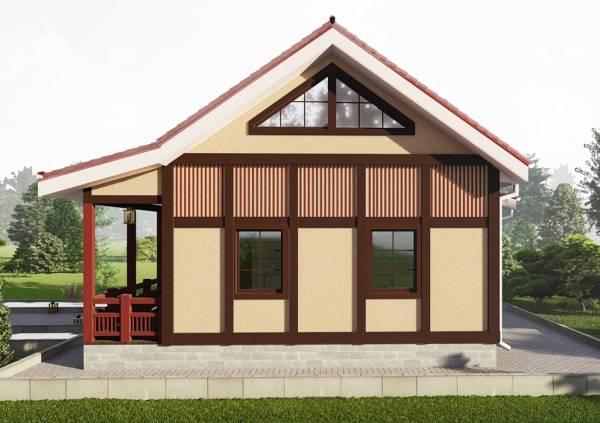 Фасад дачного дома в японском стиле 6х7 м