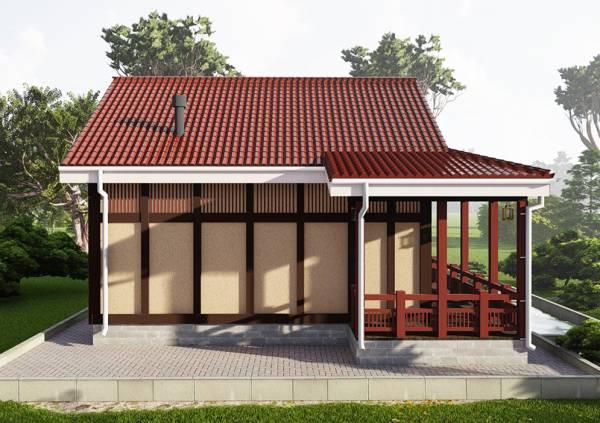 Фасад дачного дома в японском стиле проект Мещерино