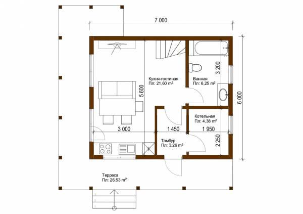 План первого этажа дачного дома в японском стиле 6х7 м