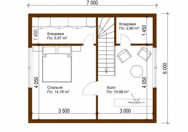 Планировка  второго этажа дачного дома в японском стиле