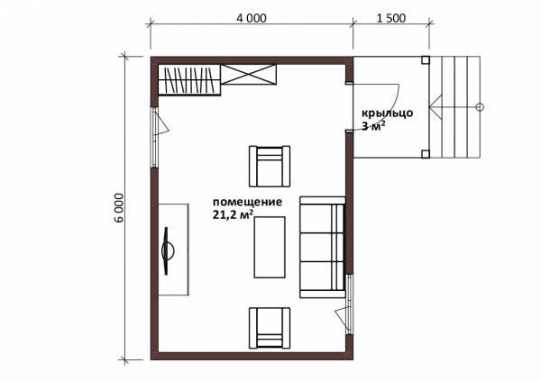 Планировка маленького дома 4х6 проект Тучково