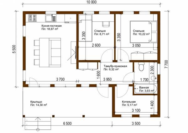 Планировка одноэтажного севременного дома 7,7х10