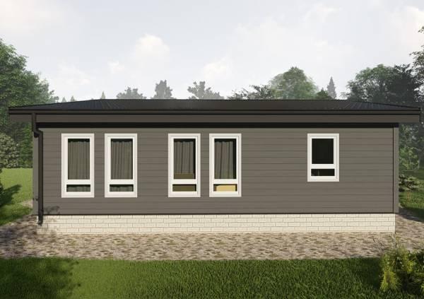 Фасад одноэтажного дома с односкатной кровлей 7,7х10