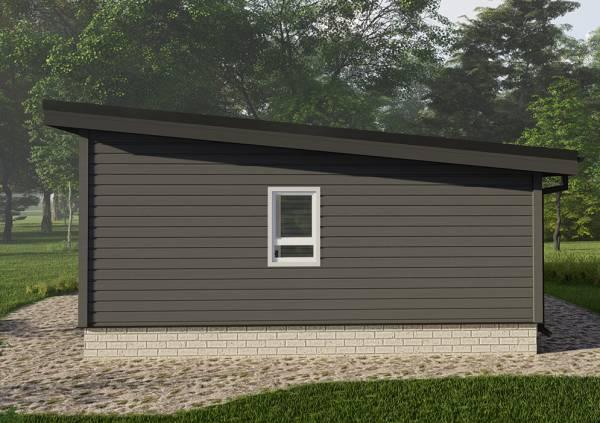 Фасад с одним окном и наклон кровли в проекта дома 7,7х10