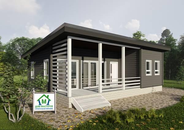Одноэтажный дом с односкатной крышей 7,7х10 метров проект Марусино