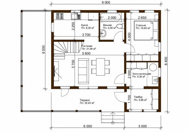 Планировка первого этажа 8,4х9 проект Дубровка