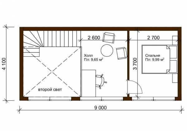 Планировка второго этажа со вторым светом 8,4х9 проект Дубровка