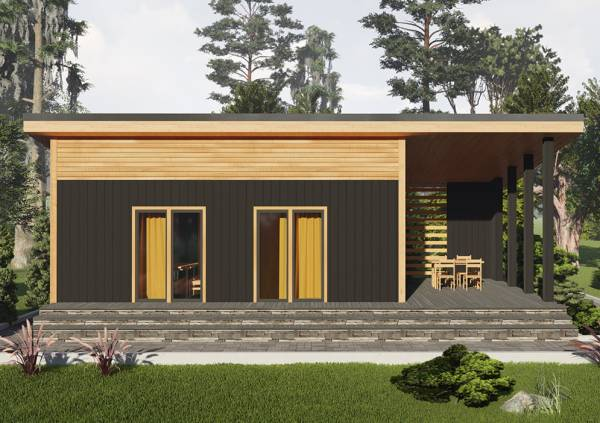 Вид на террасу-крыльцо дачного дома 6х8 проект Булгаково