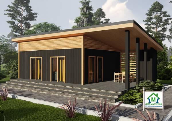 Дачный дом с односкатной крышей 6х8 проект Булгаково