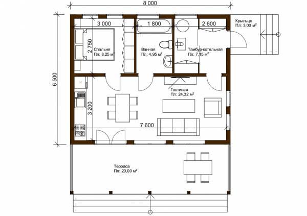 Планировка современного дачного дома 6,5х8 проект Ваулово