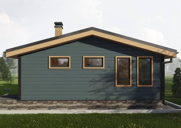 Фасад дачного дома с двускатной кровлей 6,5х8 проект Ваулово