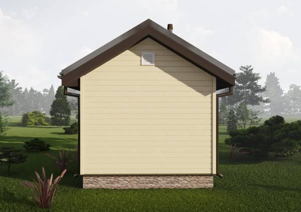 Фасад маленькой бани 4х5 по проекту Снегири