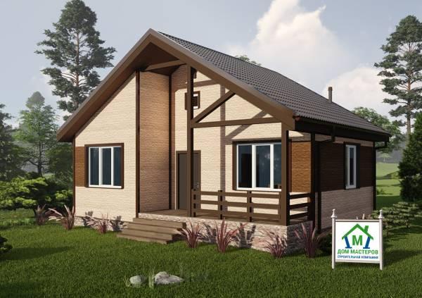 Общий вид одноэтажного дома 7,5х9,5 проект Ершово