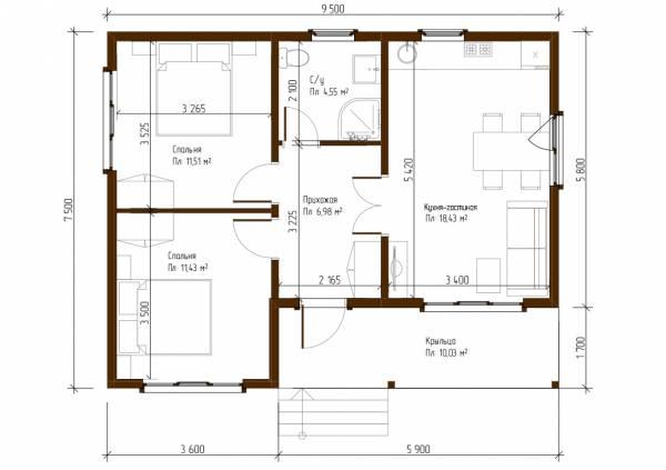 Отличная планировка одноэтажного дачного дома 7,5х9,5 проект Ершово.