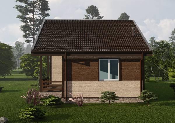Вид сбоку одноэтажного дачного дома проект Ершово