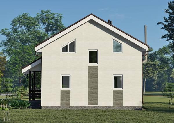 Фасад с пятью окнами дома 8х8 проект Бестужево