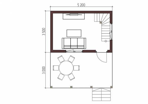 Планировка первого этажа маленького дома проект Алачково.