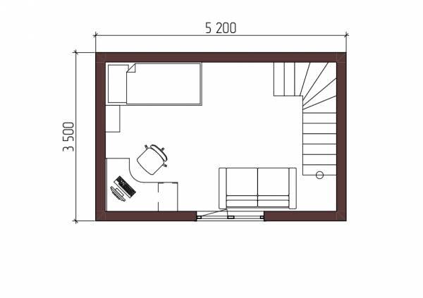 Планировка второго этажа маленького дома проект Алачково.