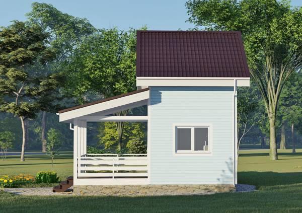 Фасад маленького дома сбоку проект фотография.
