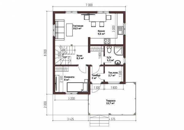 Планировка первого этажа 7х8 проект Коровино.