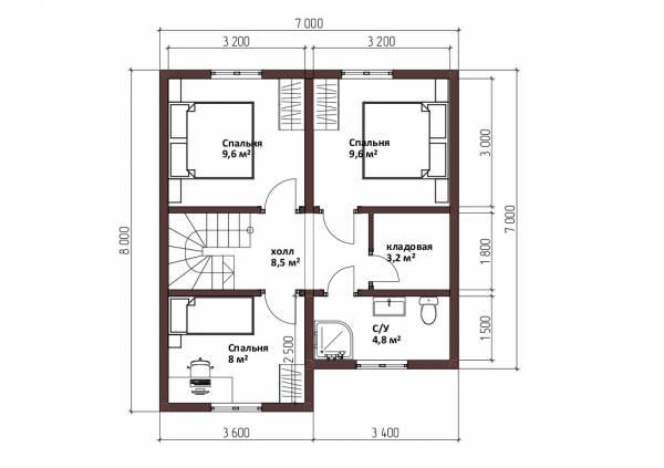 Планировка второго этажа дома 7х8 проект Коровино.