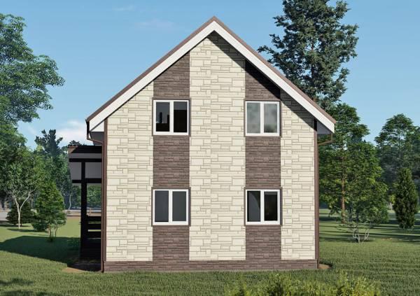 Общий вид фасада с двухцветной раскраской проект Коровино 7х8.