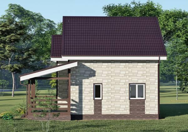 Вид сбоку на фасад дачного дома 7х8 проект Коровина.