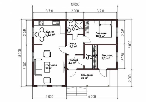 Планировка одноэтажного дома 8х10 проект Курниково.