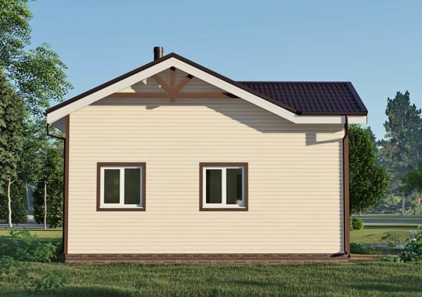 Фасад с двумя окнами дачного дома 8х10 проект Курниково.