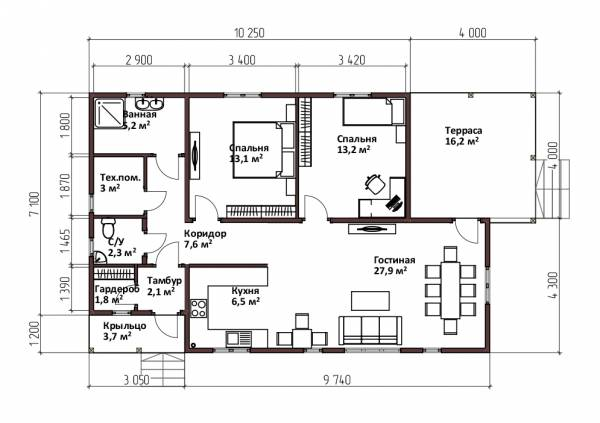 Планировка одноэтажного дачного дома 8,3х12,8  проект Леоново.