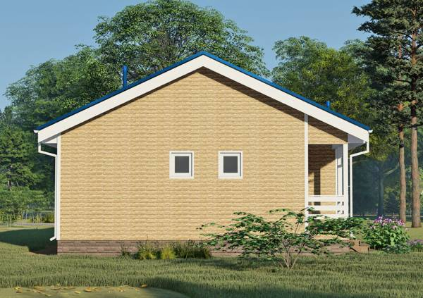 Фасад с двумя маленькими окнами одноэтажного дома 8х12 проект Леоново.