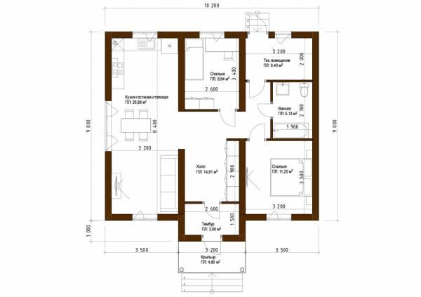 Планировка дома с двумя входами 10х10,2 проект Малыгино.