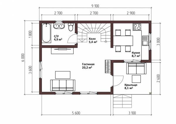 Планировка первого этажа 6х9,1 проект Оксино.