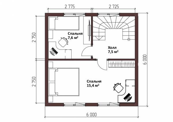 Удобная планировка второго этажа дачного дома 6х9,1 проект Оксино.