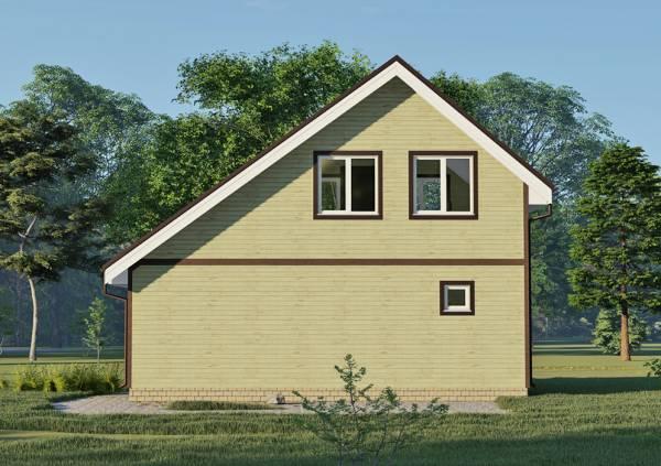 Вид сбоку на фасад дачного дома 6х9,1 проект Оксино.