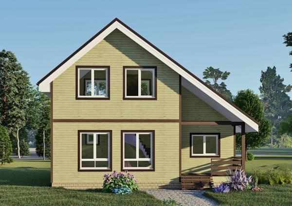 4 окна на фасаде двухэтажного дома 6х9,1 проект Оксино.