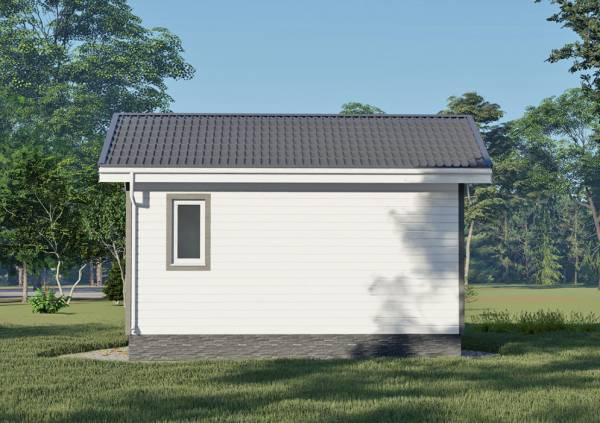 Фасад с одним окном дачного дома 6х6 проект Пронино.