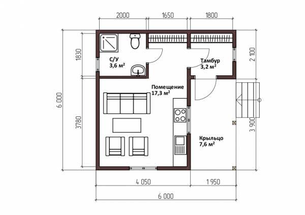 Планировка одноэтажного дома 6х6 проект Пронино.
