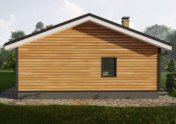 Фасад с одним окном дачного дома 9х11 проект Сандарово.