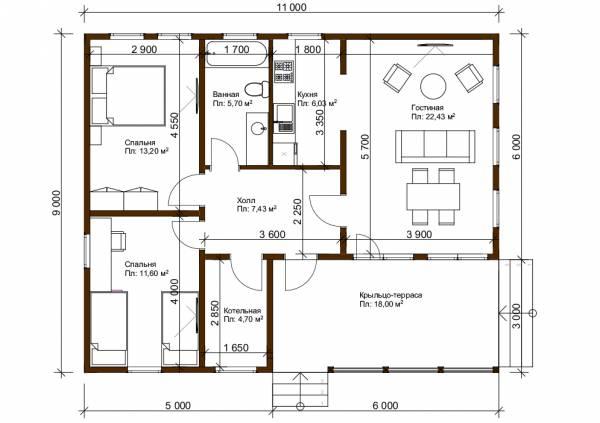 Планировка дачного дома 9х11 проект Сандарово.