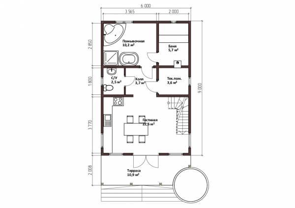 Планировка первого этажа бани 6х9 проект Стремилово.